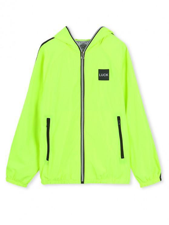 buy Luck Applique Contrast Tape Hooded Zip Up Jacket - EMERALD GREEN 160