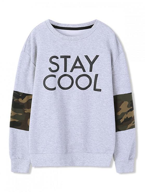 lady Camouflage Pattern Design Sweatshirt - GRAY GOOSE 110