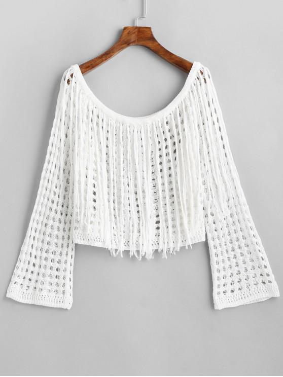 sale Fringed Crochet Long Sleeve Top - WHITE ONE SIZE