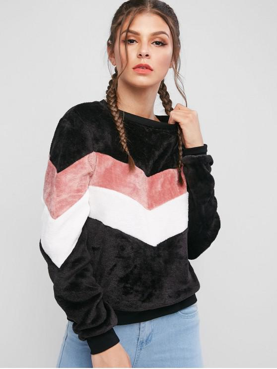 shop ZAFUL Fuzzy Contrast Color Block Pullover Sweatshirt - MULTI-A M