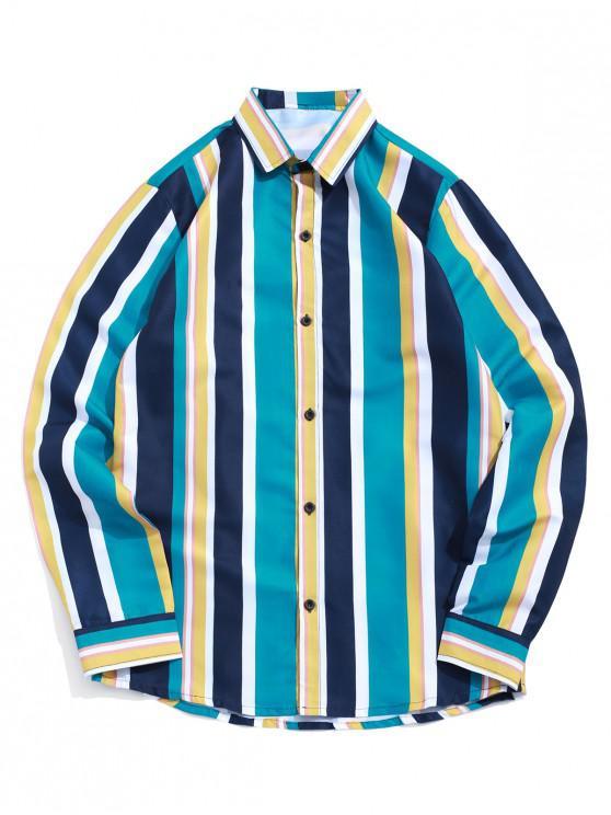 trendy Colorblock Striped Print Long Sleeve Button Shirt - BLUE HOSTA M