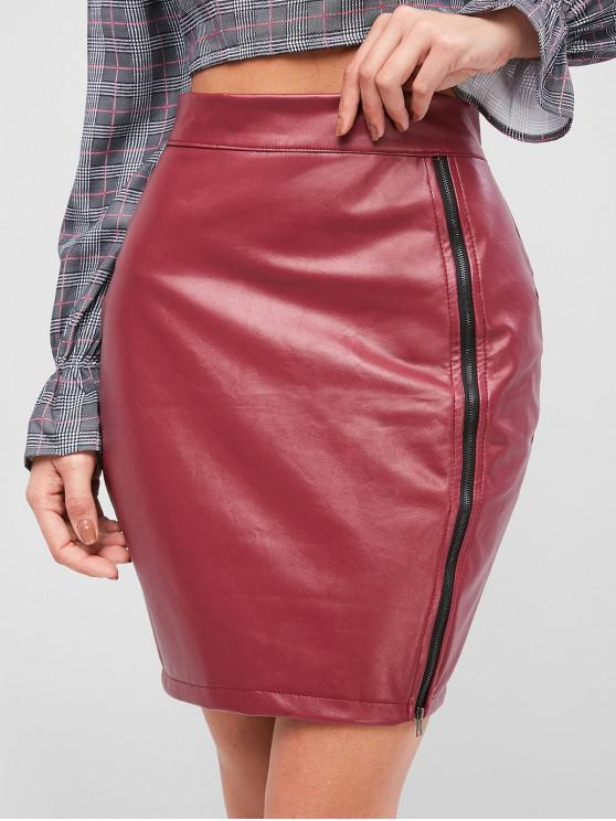 shops Zip Up PU Leather Pencil Skirt - RED M
