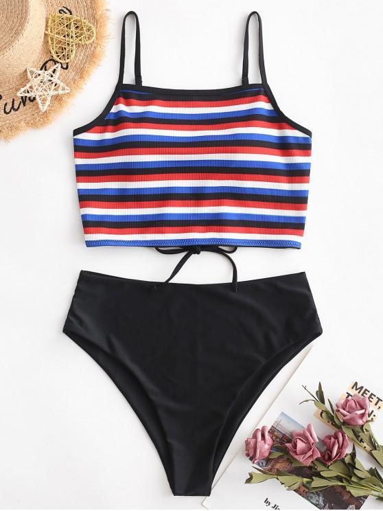 shops ZAFUL Striped Ribbed Criss Cross High Cut Tankini Swimsuit - MULTI-A XL