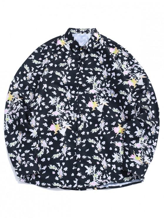 best Floral Painting Allover Print Long Sleeve Casual Shirt - BLACK L