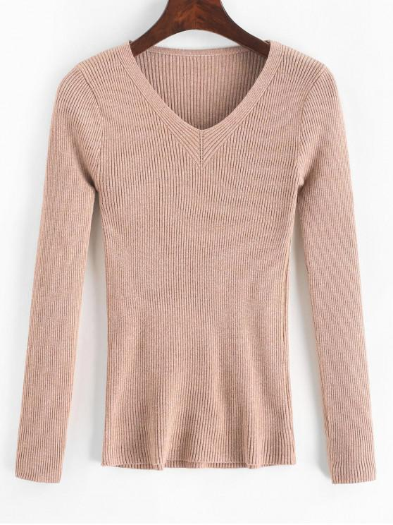 fashion Ribbed Slim Knitted V Neck Sweater - APRICOT ONE SIZE
