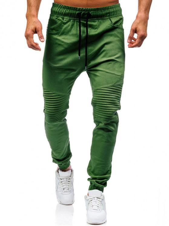 lady Pleated Design Plain Drawstring Jogger Pants - ARMY GREEN 2XL