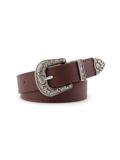 Vintage Faux Leather Engraved Belt - Deep Coffee
