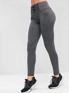 Marl Hook And Eye Sports Leggings - Carbon Gray M