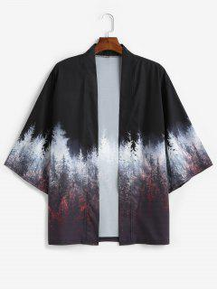 Forest Painting Print Open Front Kimono Cardigan - Black L