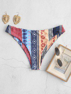 ZAFUL Bohemian Flower Paisley High Leg Bikini Bottom - Multi-a M