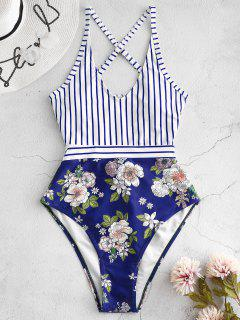 ZAFUL Striped Floral Criss Cross Swimsuit - Lapis Blue M