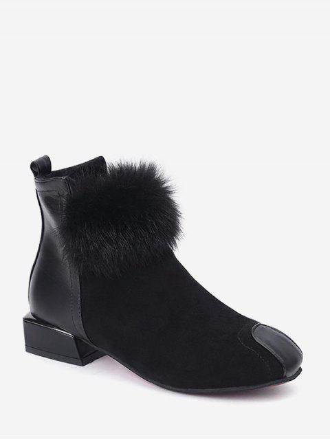 buy PU Leather Trim Fuzzy Ball Ankle Boots - BLACK EU 35 Mobile