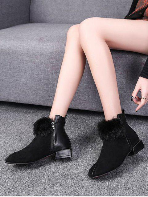 hot PU Leather Trim Fuzzy Ball Ankle Boots - BLACK EU 37 Mobile