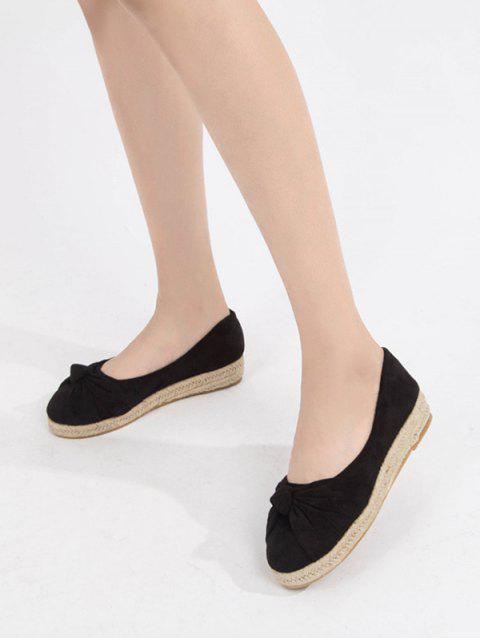 latest Bowknot Slip On Espadrille Flat Shoes - BLACK EU 40 Mobile