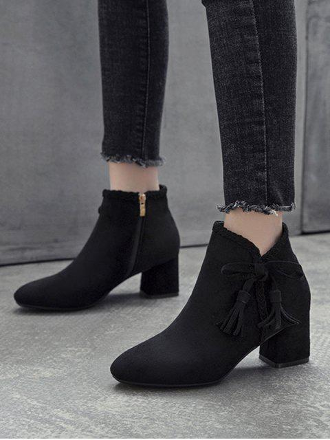 fashion Braided Trim Bowknot Suede Ankle Boots - BLACK EU 35 Mobile