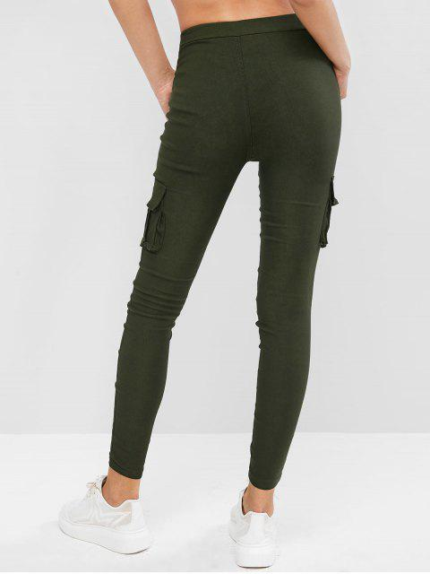buy Drawstring Flap Pockets Skinny Pants - ARMY GREEN S Mobile