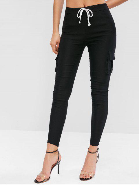 Pantalones ajustados con bolsillos con solapa con cordón - Negro M Mobile