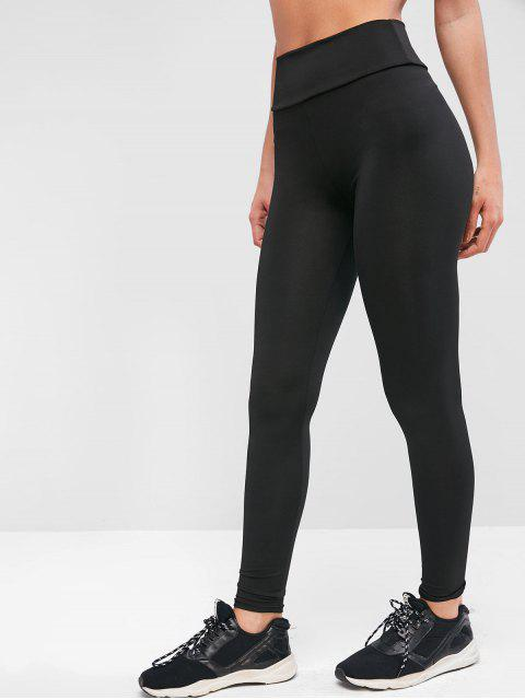 trendy Plain High Waisted Sports Leggings - BLACK S Mobile