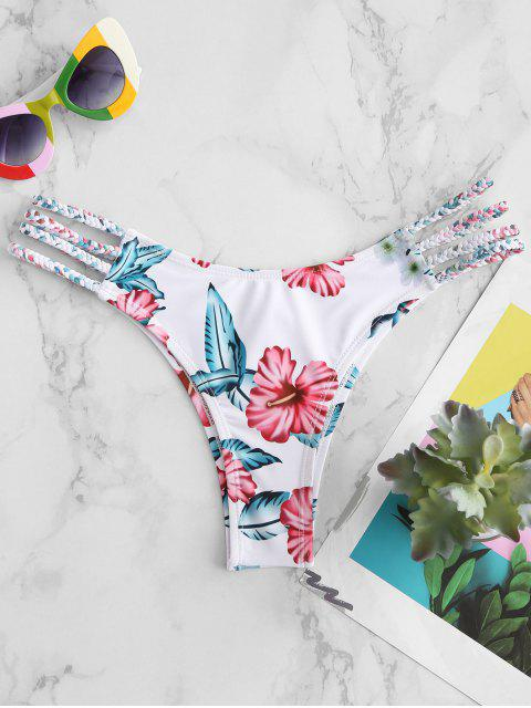 fashion ZAFUL Flower Braided Ladder Cut Bikini Bottom - RED WINE S Mobile