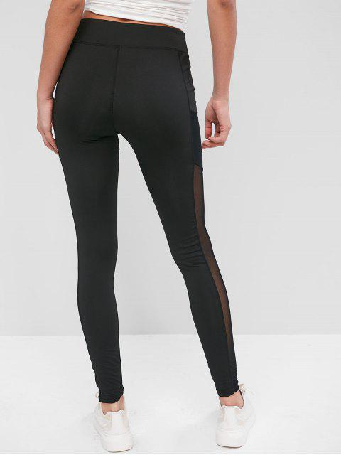 online Pockets Mesh Panel Sports Leggings - BLACK M Mobile