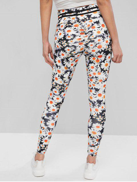shops Ruched Stripes Panel Daisy Floral Leggings - MULTI-A L Mobile