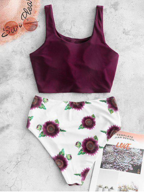 trendy ZAFUL Knotted Hem Ruched Sunflower Tankini Swimsuit - MAROON L Mobile
