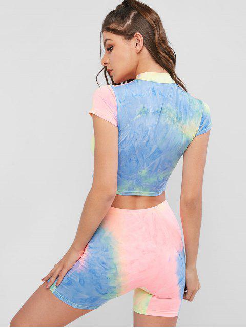Conjunto de pantalones cortos de deporte con cierre de media cremallera Tie Dye - Multicolor L Mobile