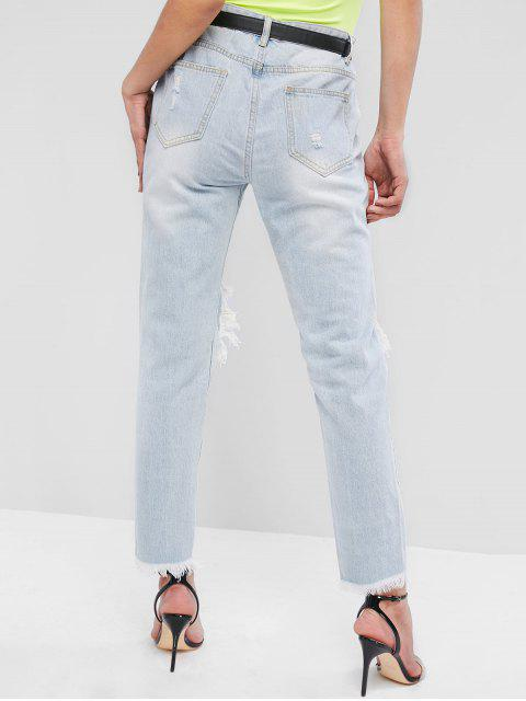 hot Light Wash Ripped Frayed Cutout Pencil Jeans - DENIM BLUE S Mobile