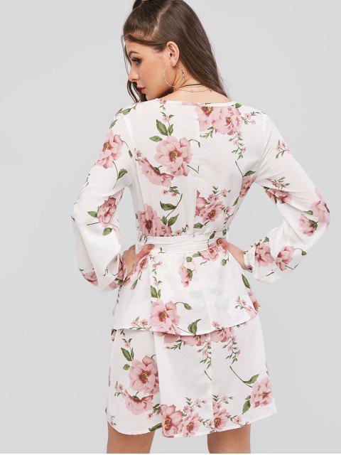 ZAFUL Robe Ceinturée Superposée Fleur Imprimée à Manches Longues - Blanc Lait M Mobile