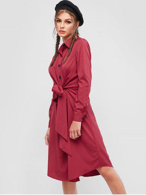 ZAFUL Robe Chemise Boutonnée Taille Nouée à Manches Longues - Châtaigne Rouge M Mobile