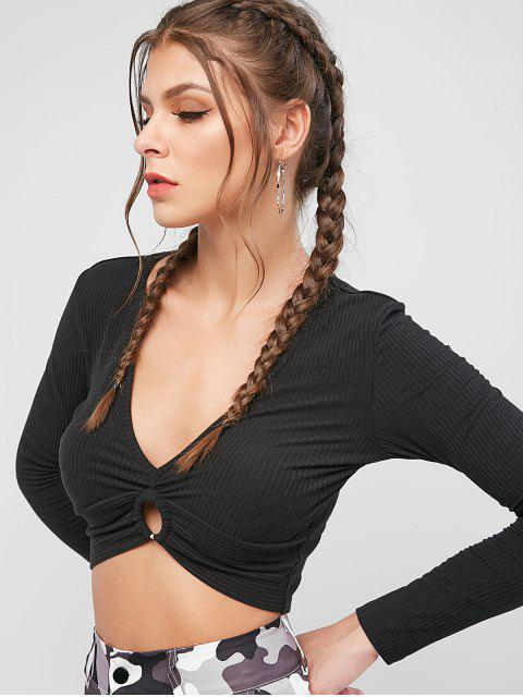 ZAFUL T-shirt Court Côtelé Anneau en O à Manches Longues - Noir XL Mobile