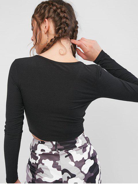 ZAFUL T-shirt Court Côtelé Anneau en O à Manches Longues - Noir S Mobile