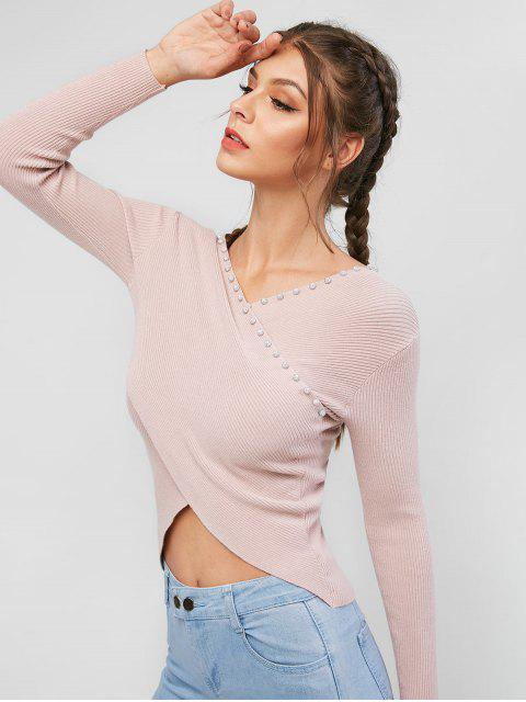 Pull Côtelé Croisé Perlé avec Strass - Rose Rosé Taille Unique Mobile