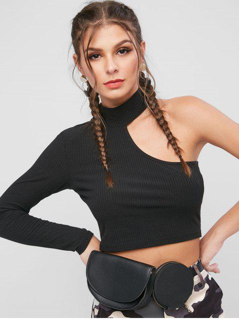 buy ZAFUL High Neck Ribbed One Sleeve T-shirt - BLACK XL Mobile