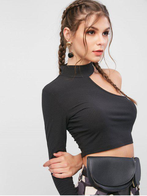outfits ZAFUL High Neck Ribbed One Sleeve T-shirt - BLACK L Mobile