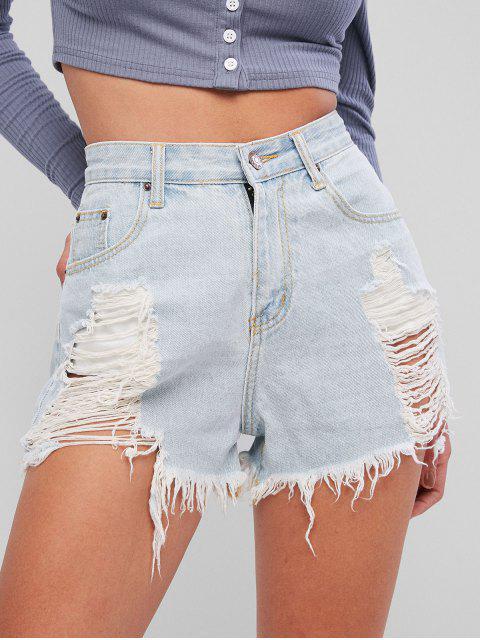 Lavagem leve rasgado Shorts Denim Frayed - Jeans Azul L Mobile