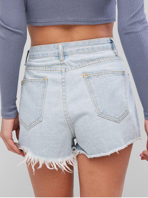 輕洗褶皺磨邊牛仔短褲 - 牛仔褲藍色 M Mobile