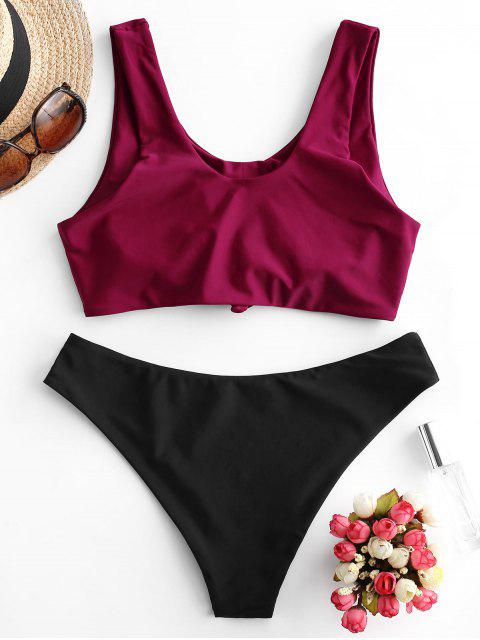 outfits ZAFUL Mock Button Knot Reversible Bikini Swimsuit - RED WINE M Mobile
