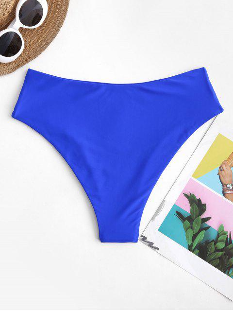 hot ZAFUL High Waisted High Leg Plain Bikini Bottom - BLUEBERRY BLUE S Mobile