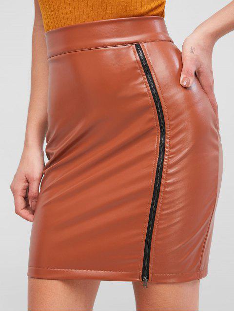 拉鍊PU皮革鉛筆裙 - 橙色三文魚 S Mobile
