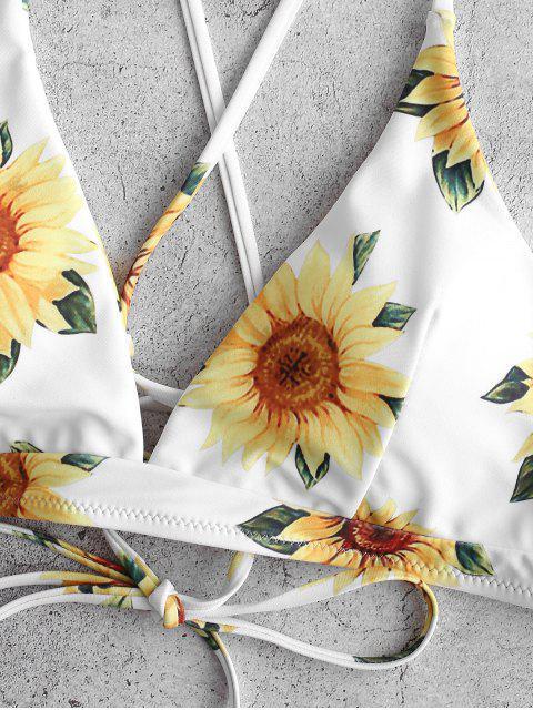 ZAFUL Kreuzer und Querer Sonnenblumen- Bikinioberteil mit Schnürung - Weiß S Mobile