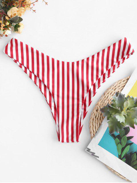 ZAFUL Gestreifte Bikinihose mit Hohem Bein - Rot S Mobile