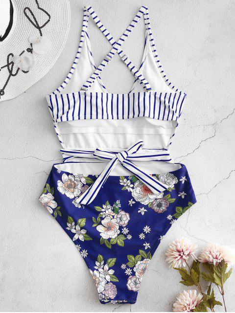 trendy ZAFUL Striped Floral Criss Cross Swimsuit - LAPIS BLUE S Mobile