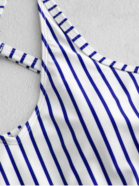 chic ZAFUL Striped Floral Criss Cross Swimsuit - LAPIS BLUE L Mobile