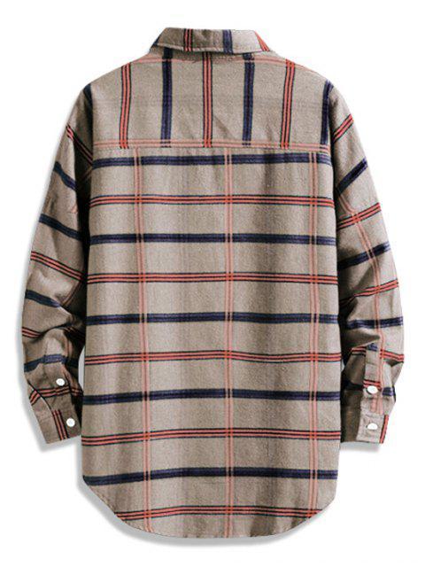 Camisa larga con botones de dobladillo curvo con estampado de cuadros bajos - Caqui L Mobile