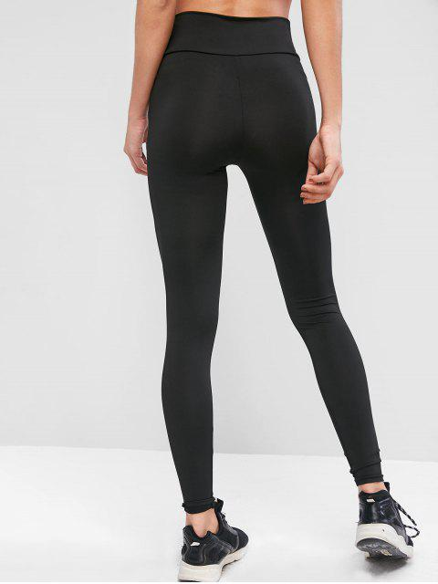 outfits Plain High Waisted Sports Leggings - BLACK M Mobile