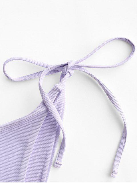 ZAFUL Bikiniunterteil mit Gerippten Bindebändern - Lavendel Blau L Mobile