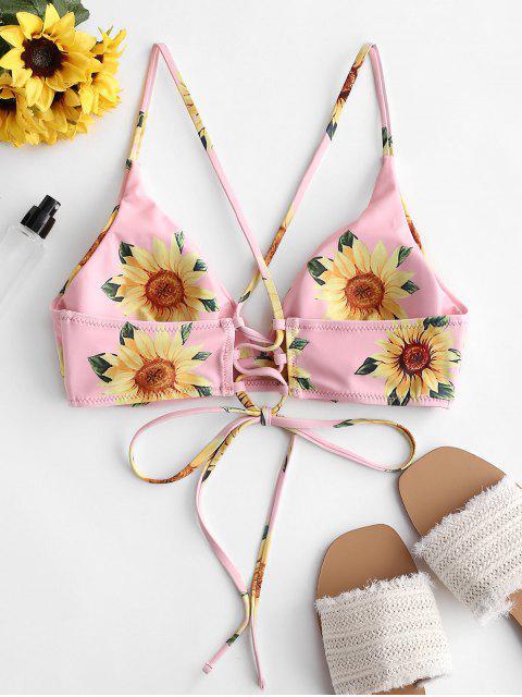 ZAFUL Haut de Bikini Tournesol Croisé à Lacets - Rose Cochon S Mobile