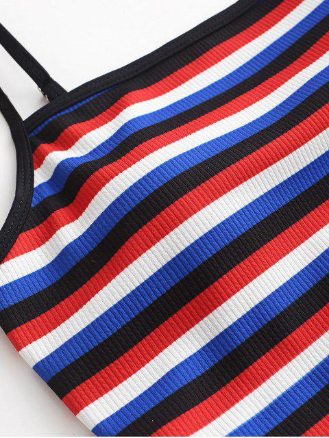 ZAFUL traje de baño Tankini de corte alto cruzado y cruzado a rayas - Multicolor-A S Mobile