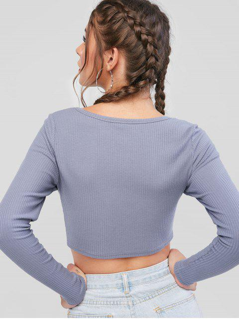 lady ZAFUL Button Up Ribbed Crop Tee - BLUE GRAY S Mobile